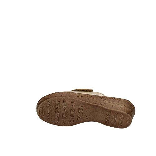 Velcro Sottopiede Sabbia 5 26000061 4 Donna con Incrociata INBLU Zeppa Anatomico Ciabatte Soft cm Tomaia Beige AwHqBFvxI