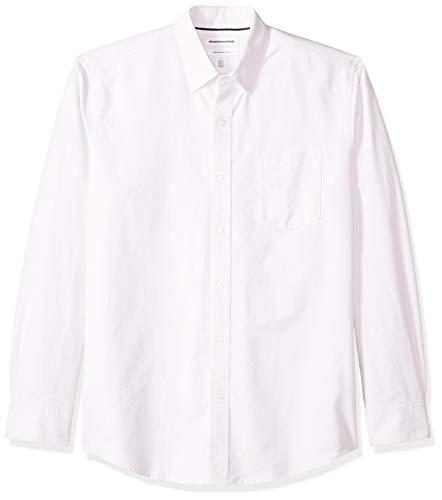Amazon Essentials Men's Regular-Fit Long-Sleeve Stripe Pocket Oxford Shirt, Lavender, Large