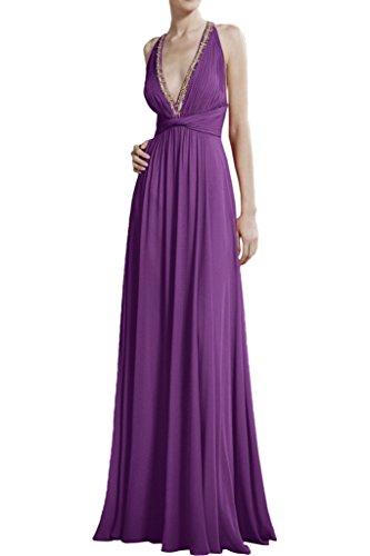 Olive Abendkleider Damen V Chiffon Violett Kleider Braut Ausschnitt La Partykleider Lang Celebrity mia Gruen 8txfBBwq