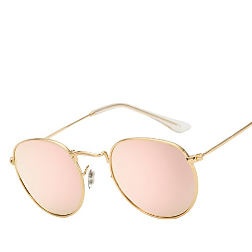 Vintage soleil Frame Case Round Pink Glasses Polarized Classic Zhhyltt Sunglasses lunettes de Men Personality Women with Gold for des xqSXfwFA1