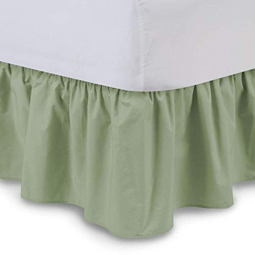 KP Linen Ruffled Bed Skirt with Split Corners Queen Size (28 Inch Drop) Platform Dust Ruffle with 400 Thread Count Microfiber Wrinkle Free(Sage Solid)