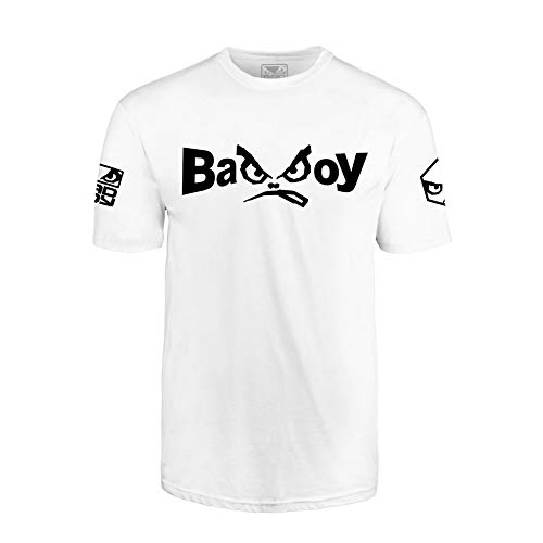 Bad Boy MMA Authentic Classic Retro Logo T-Shirt with Old School Design White - Large ()
