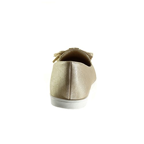 Angkorly - Chaussure Mode Mocassin slip-on femme frange pom-pom Talon plat 1.5 CM - Or