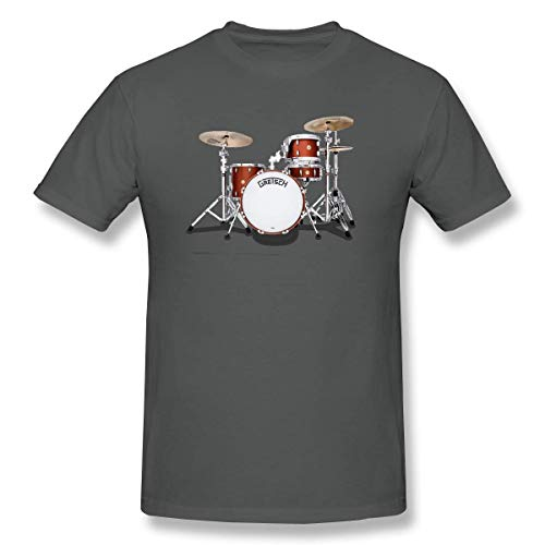 YXQMY Men's Gretsch-Drums-Gretsch-Catalina-Club-Jazz-percussio-Drumset Personality T-Shirt Deep Heather with Short Sleeve