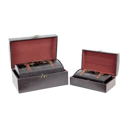 Vintiquewise(TM) ''Royal'' Leather Trunk, Treasure Box by Vintiquewise