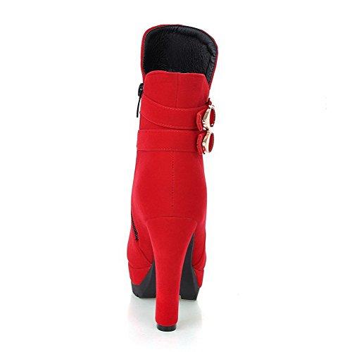 AllhqFashion Mujeres Puntera Redonda Cremallera Caña Baja Sólido Tacón ancho Botas con Metal Rojo