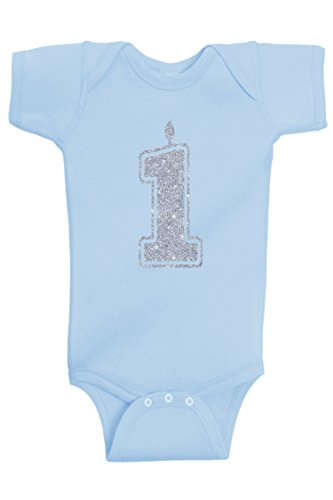 - Aiden's Corner Baby Boy First Birthday | Handmade Bodysuits & Shirts | 1st Birthday Gold and Silver Flake Outfits (1 Silver Lt Blue, 12 Months)