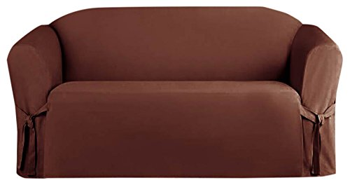 Kashi Home Micro Suede Loveseat Slipcover Protector, Brown