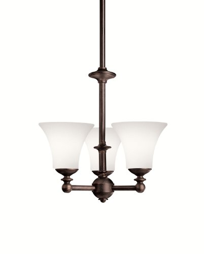Kichler Lighting 1626OAU Hamden 3-Light Chandelier, Olde Auburn with Satin-Etched Chased Opal Glass