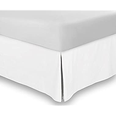 Bed Skirt (Twin, White, 15 Inch Fall) - Hotel Quality, Iron Easy, Quadruple Pleated , Wrinkle and Fade Resistant - by Utopia Bedding