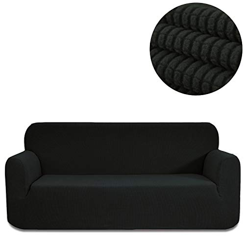 ANJUREN Sofa Loveseat Couch Chair Slipcover Cover 1 Piece 3 Seater T Cushion Sofa Couch Slip Cover Shield Protector Stretch Grid Spandex Living Room Furniture Covers (Sofa, Black)