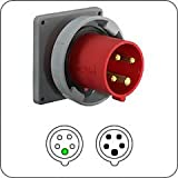 Hubbell HBL516B6W Inlet, 4 Pole and 5 Wire, 16 amp, 380/415V, Watertight