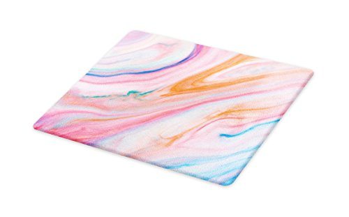 Lunarable Abstract Cutting Board, Abstract Background with Mix Fluid Flowing Soft Pastel Colors Artsy Design Print, Decorative Tempered Glass Cutting and Serving Board, Small Size, Pink Blue