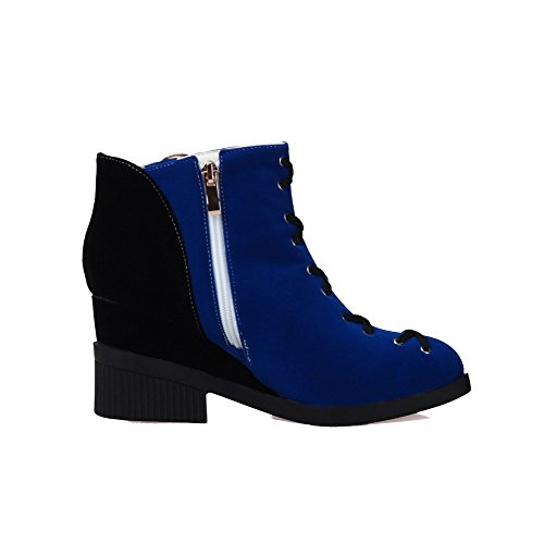 Round Boots Low Royalblue AgooLar High Frosted Heels Toe Top Closed Zipper Women's gvqqwx0SR