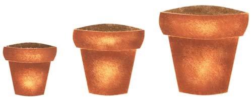 Designer Pot - Three Large Clay Pots Wall Stencil SKU #704A by Designer Stencils