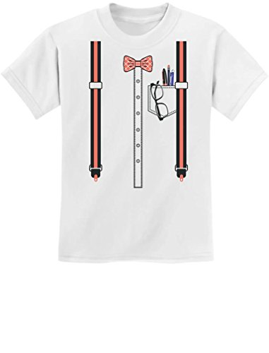 Funny Nerd Geek Halloween Easy Costume Youth Kids T-Shirt Large White]()