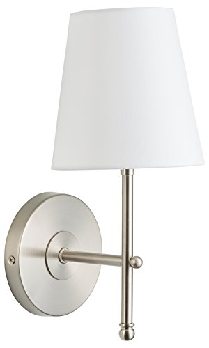 Tamb Wall Sconce 1-Light Fixture with Fabric Shade - Brushed Nickel - Linea di Liara LL-SC201-BN