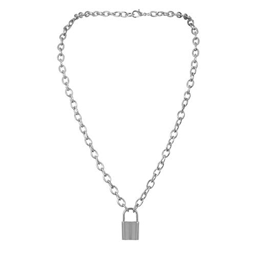 Stainless Steel Lock Pendant - QXFQJT Lock Pendant Necklace Statement Punk Hip Hop Choker Necklace for Women Girls Men (Silver)