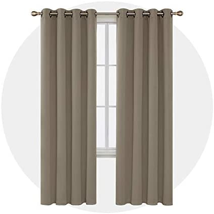 Deconovo Khaki Blackout Curtains 95 Inch Length Grommet Thermal Insulated Drapes and Curtains for Living Room 2 Panels 52×95 Inch