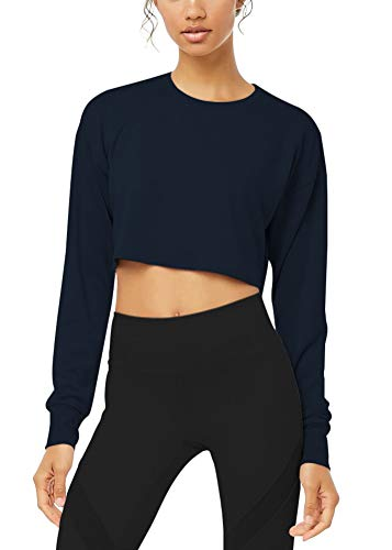 Mippo Womens Long Sleeve Workout Athletic Yoga Sweatshirts Cool Breathable Light Material Gym Exercise Active Crop Top Flowy Crop Top High Neck Tops Shirts for Women Loose Fit Navy Blue M