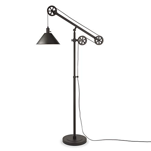 Henn&Hart FL0022 Counterweight Pulley Lamp, One Size, Black (Vintage Floor)