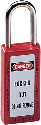 No. 410 & 411 Lightweight Xenoy Safety Lockout Padlocks, Red, Keyed Diff. (6 Pack) ()