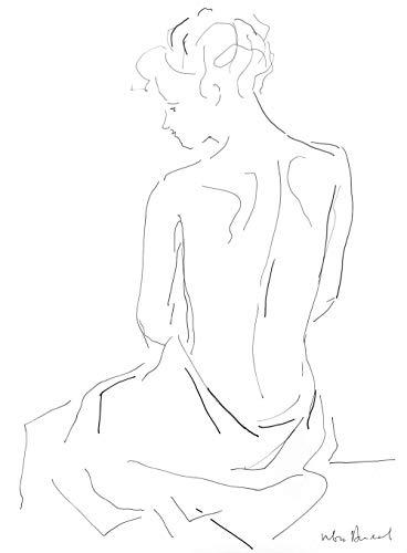 Minimalist Art Print, Black and White Artwork, Nude Drawing, Bedroom Decor, Woman Figure