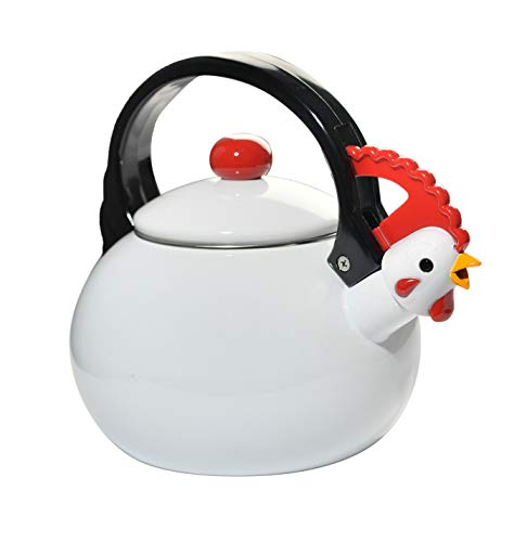 (HOME-X White Rooster Whistling Tea Kettle, Cute Animal Teapot, Kitchen Accessories)