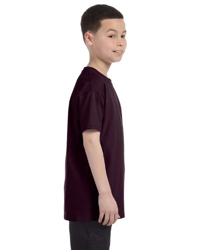 Gildan Big Boys' Heavyweight Taped Neck Comfort T-Shirt, Dark Chocolate, - Kids Big Apparel Brown Chocolate