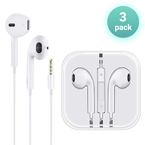 ((3 Pack) Aux Headphones/Earphones/Earbuds 3.5mm Wired Headphones Noise Isolating Earphones with Built-in Microphone & Volume Control Compatible with iPhone 6 SE 5S 4 iPod iPad Samsung/Android MP3)