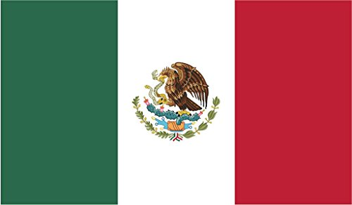 - JMM Industries Mexico Flag Vinyl Decal Sticker Mexican Estados Unidos Mexicanos Car Window Bumper 2-Pack 5-Inches by 3-Inches Premium Quality UV-Resistant Laminate PDS483