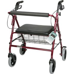 Roscoe Medical 30196 Bariatric Rollator, Burgundy