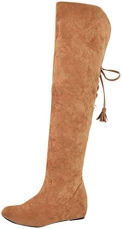[Mifazhu] 冬の女性 レジャーネクタイ 折り畳まれて着用 オーバーニーブーツ ウェッジの増加 保温する スノーブーツ無地 歩きやすい 痛くない 秋 冬 通勤通学 コスプレ美脚効果最高 ファッション 脚長 足細