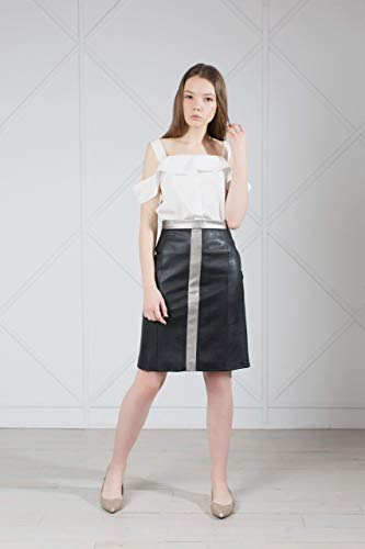 Black Pencil Faux Leather Midi Skirt High Waist ()