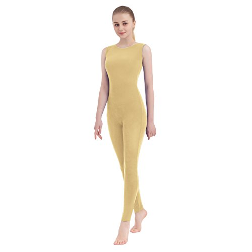 Cream Scoop Neck - Unisex Scoop Neck Tank Top Lycra Spandex Sleeveless Unitard (Small, Cream)