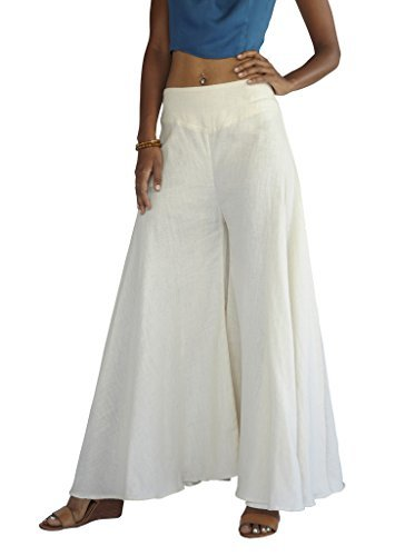 Tropic Bliss Women's Wide Leg Organic Cotton Palazzo Pants, Fair Trade (XS, Ivory) (Trouser Ivory Pant)