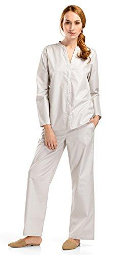 HANRO Women's Sleep and Lounge Woven Long Sleeve Shirt, Beige Stripe X-Small ()