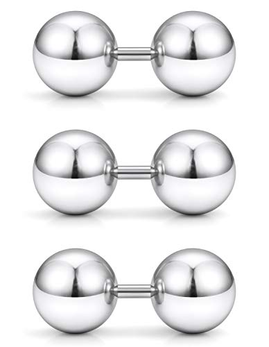 Yaalozei 3PCS 14G Stainless Steel Externally Threaded Straight Barbell Tragus Ring Cartilage Jewelry w 10mm Big Balls ()