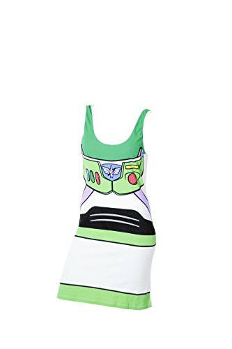 Toy Story Buzz Lightyear White Juniors Costume Tunic Tank Dress (Juniors X-Large)