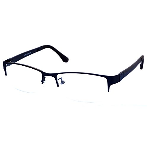 VINTAGE Designer Metal Frame Half Rim Clear Lens Eye Glasses BLACK