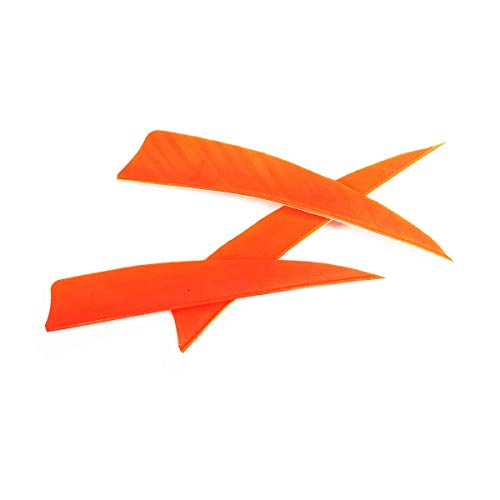 Letszhu Archery Arrows Feather Fletching 4 Inch Real Turkey Vanes for Hunting Target Shooting (25 Pack) (Orange)