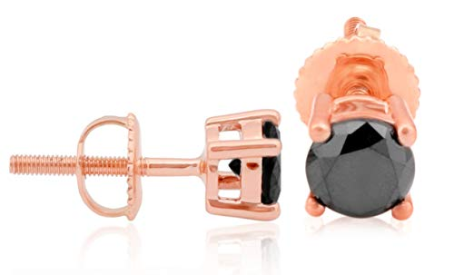 ound Black Diamond Bezel Set Screw Back Stud Earrings, 10k Rose Gold ()