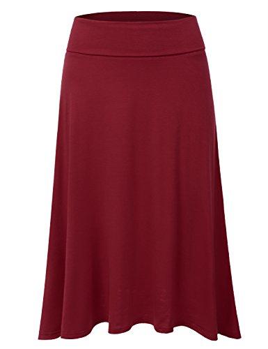 Skirt Elastic Waist Woven (DRESSIS Women's Basic Elastic Waist Band Flared Midi Skirt BURGUNDY L)