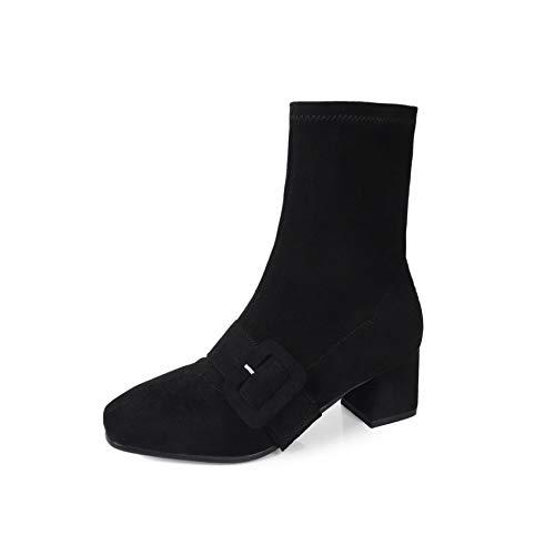 HOESCZS 2019 Frauen Mittlere Waden Stiefel Mode Frauen Schuhe Plattform Winter Stiefel Platz Ferse Kausalen Frauen Stiefel Große Größe 34-43