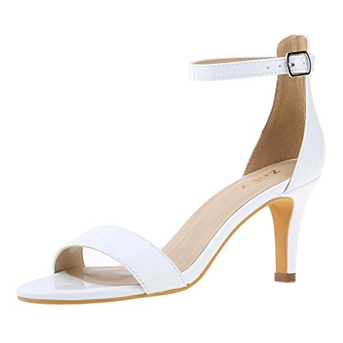 ZriEy Women's Heeled Sandals Ankle Strap High Heels 7CM Open Toe Mid Heel Sandals Bridal Party Shoes White Size 6