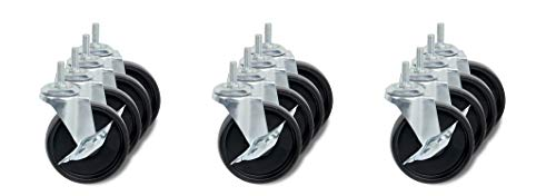 Honey-Can-Do 4-Inch Caster Roller Wheels for HCD Shelving Unit, Set of Four (3 Sets) from Honey-Can-Do