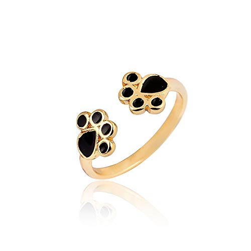 - WLLAY Fashion Silver Cat Paw Print Rings for Women Cute Animal Black Enamel Puppy Dog Paw Open Ring Female Party Gift (Gold)