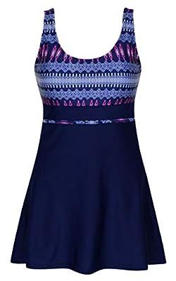 DANIFY Women's Plus Size Swimsuits Slimming Tummy Control Swimdress Retro Skirt Swimming Suit