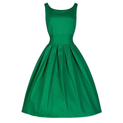 iLUGU Boat Collar Sleeveless Knee-Length Dress for Women Solid Color Pleated A-Line Dress Dress Shirts for Women Green