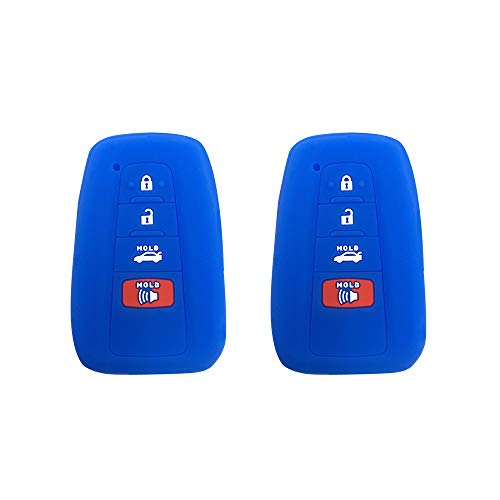 Bar Chr (BAR Autotech Remote Key Silicone Rubber Keyless Entry Shell Case Fob and Key Skin Cover 4 Buttons Fit For 2018 Toyota Camry C-HR Prius (Blue))
